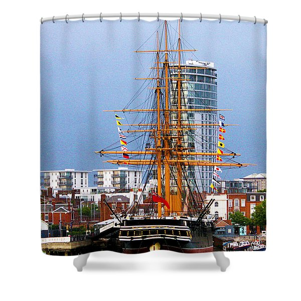 HMS Warrior Portsmouth Shower Curtain by Terri  Waters