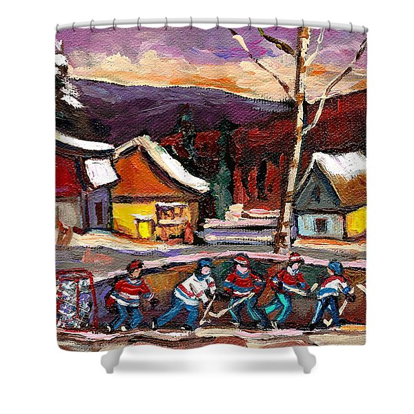 Hockey 4 Shower Curtain by Carole Spandau