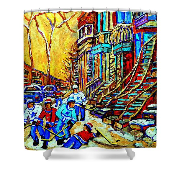HOCKEY ART MONTREAL WINTER SCENE WINDING STAIRCASES KIDS PLAYING STREET HOCKEY PAINTING  Shower Curtain by CAROLE SPANDAU