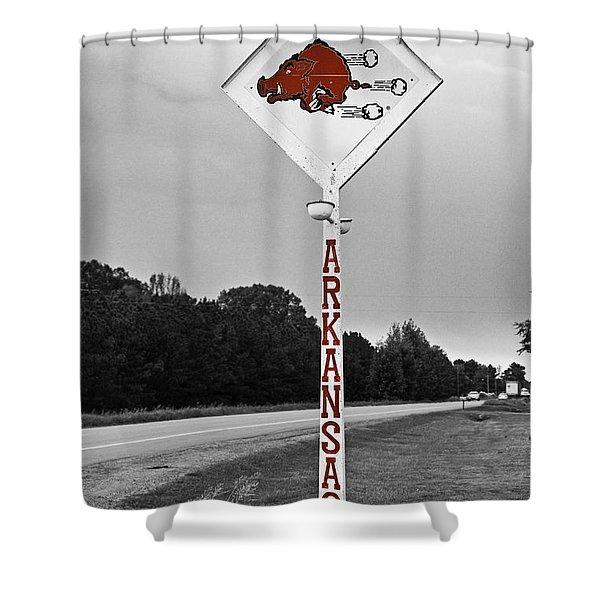 Hog Sign Shower Curtain by Scott Pellegrin