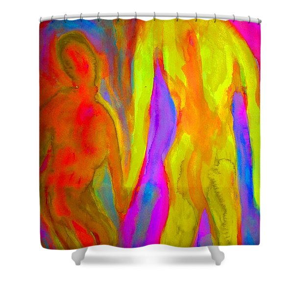 holding our hands Shower Curtain by Hilde Widerberg