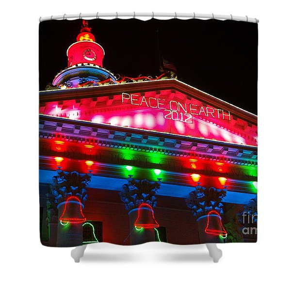 Holiday Lights 2012 Denver City And County Building L1 Shower Curtain by Feile Case