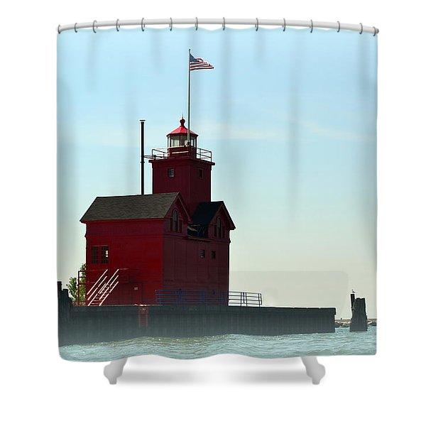 Holland Harbor Light Vignette Shower Curtain by Michelle Calkins