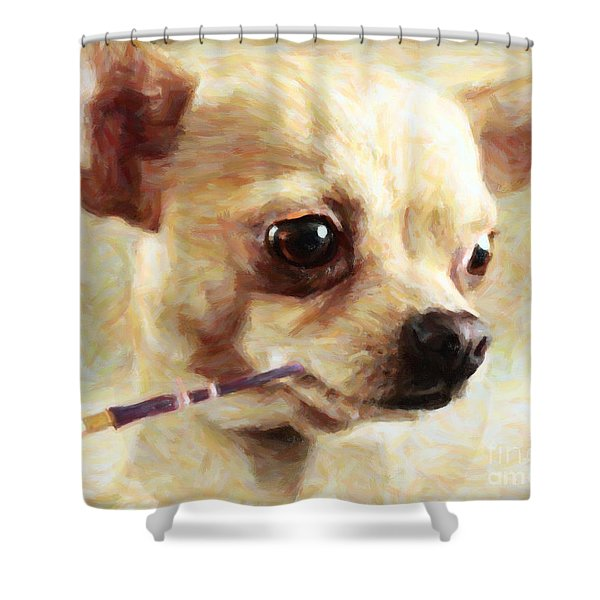 Hollywood Fifi Chika Chihuahua - Painterly Shower Curtain by Wingsdomain Art and Photography