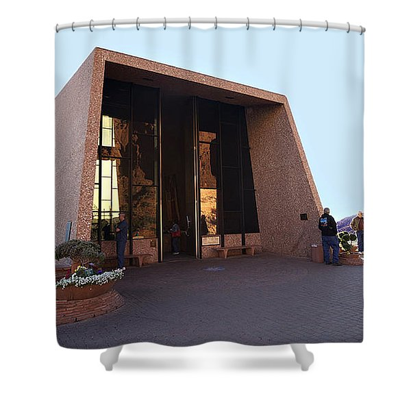Holy Cross Or Red Rock Chapel Rear View Shower Curtain by Bob and Nadine Johnston