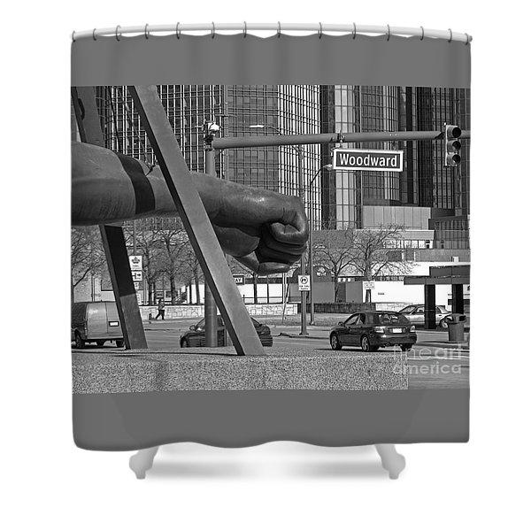 Homage to Joe Louis bw Shower Curtain by Ann Horn