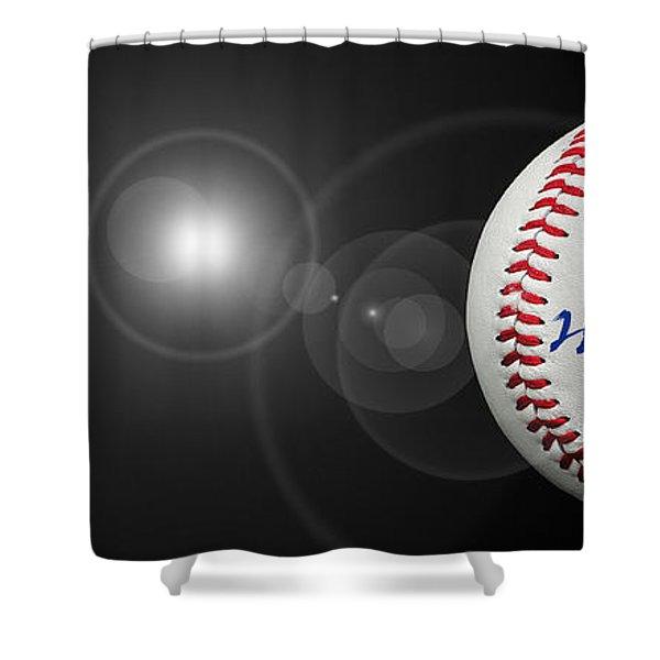 Home Run - Baseball - Sport - Night Game - Panorama Shower Curtain by Andee Design