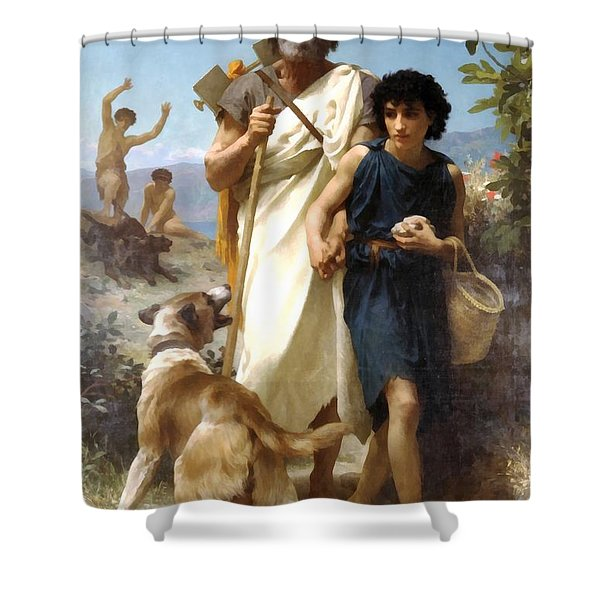 Homer And His Guide Shower Curtain by William Bouguereau