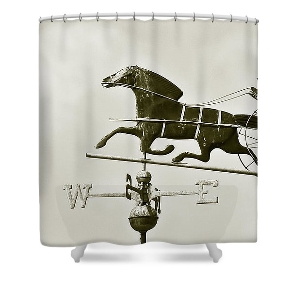 Horse And Buggy Weathervane In Sepia Shower Curtain by Ben and Raisa Gertsberg