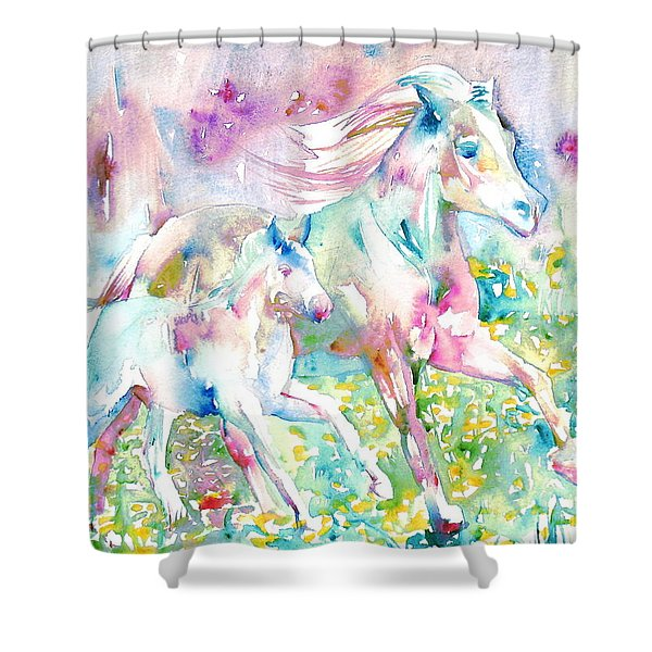 Horse Painting.17 Shower Curtain by Fabrizio Cassetta