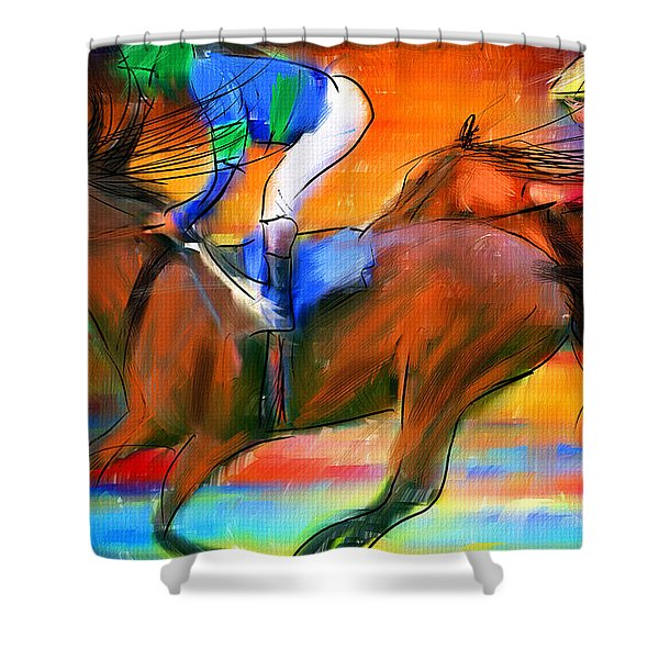 Horse Racing II Shower Curtain by Lourry Legarde