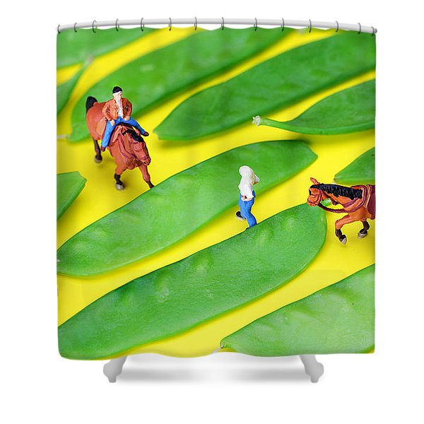 Horse riding on snow peas little people on food Shower Curtain by Paul Ge