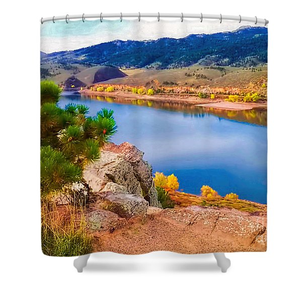 Horsetooth Lake Overlook Shower Curtain by Jon Burch Photography