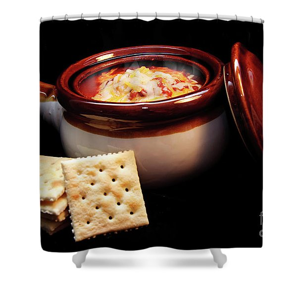 Hot Chili With Cheese And Crackers Shower Curtain by Andee Design