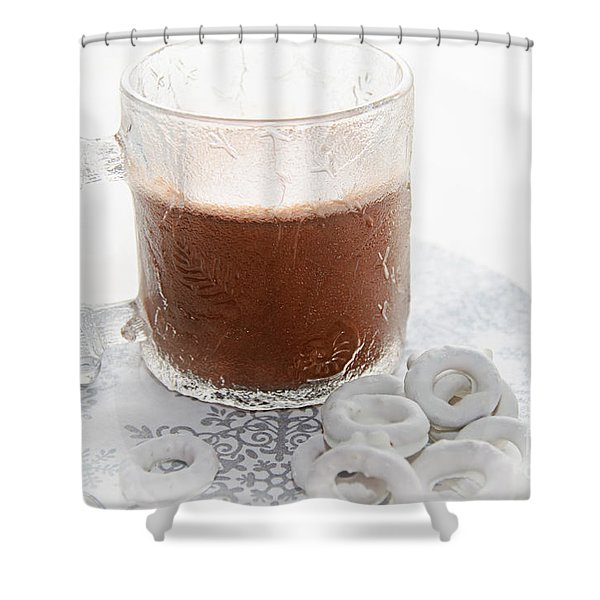 Hot Chocolate And Candy Coated Pretzels Shower Curtain by Andee Design