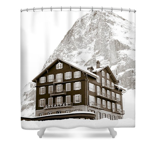 Hotel Des Alpes And Eiger North Face Shower Curtain by Frank Tschakert