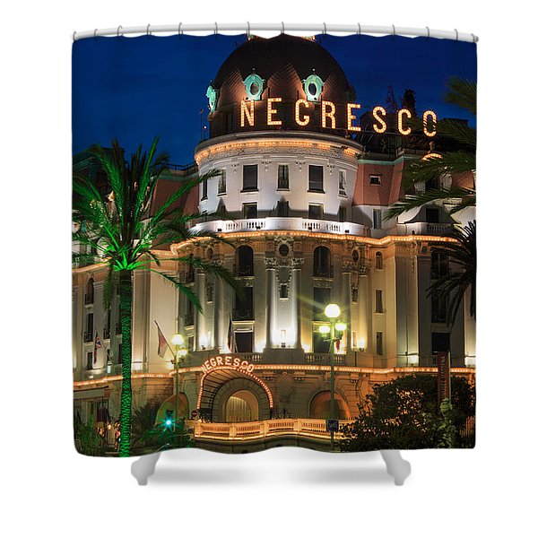 Hotel Negresco by Night Shower Curtain by Inge Johnsson
