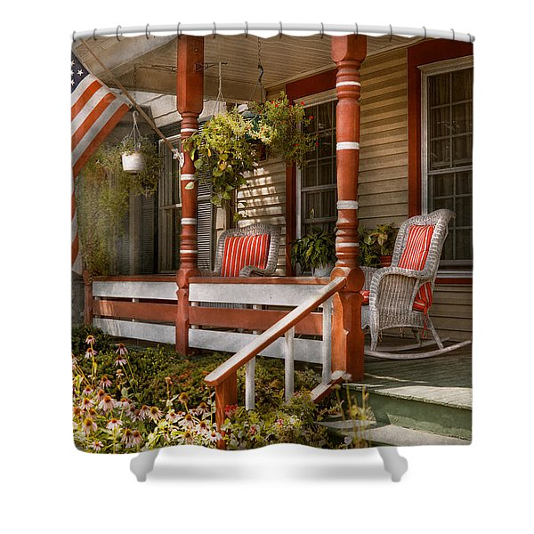 House - Porch - Traditional American Shower Curtain by Mike Savad
