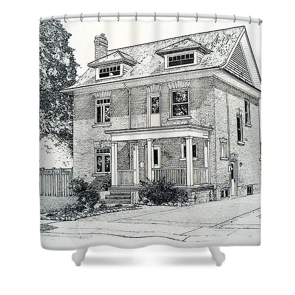 House Portrait In Ink 1 Shower Curtain by Hanne Lore Koehler
