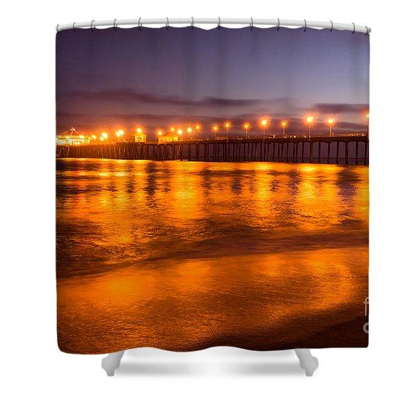 Huntington Beach Pier at Night Shower Curtain by Paul Velgos
