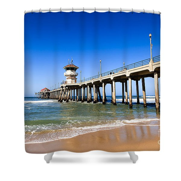 Huntington Beach Pier In Southern California Shower Curtain by Paul Velgos