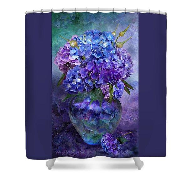 Hydrangeas In Hydrangea Vase Shower Curtain by Carol Cavalaris