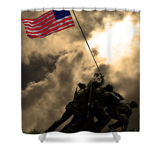 I Pledge Allegiance To The Flag - Iwo Jima 20130211v2 Shower Curtain by Wingsdomain Art and Photography