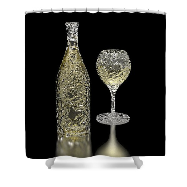Ice Bottle And Glass Shower Curtain by Hakon Soreide