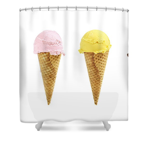 Ice cream in sugar cones Shower Curtain by Elena Elisseeva
