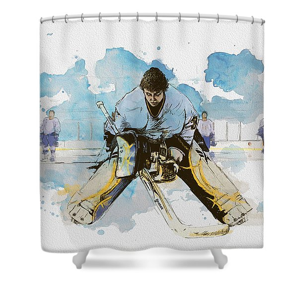 Ice Hockey Shower Curtain by Corporate Art Task Force