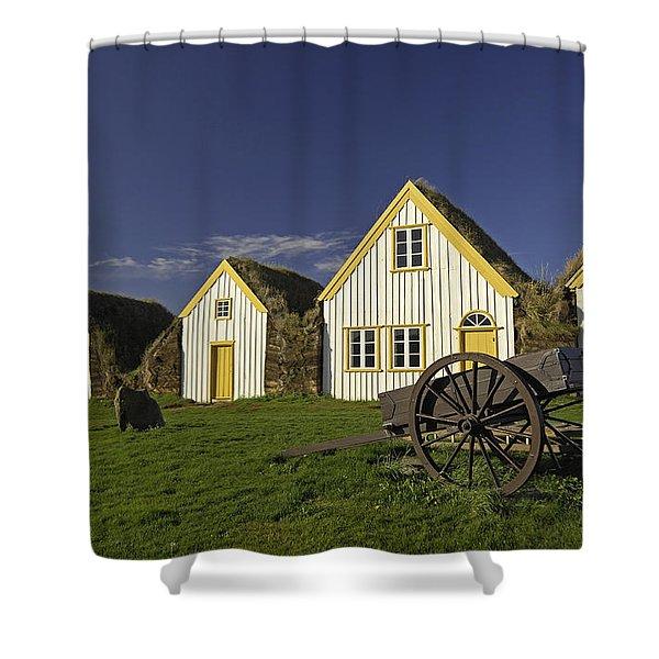 Icelandic Turf Houses Shower Curtain by Claudio Bacinello