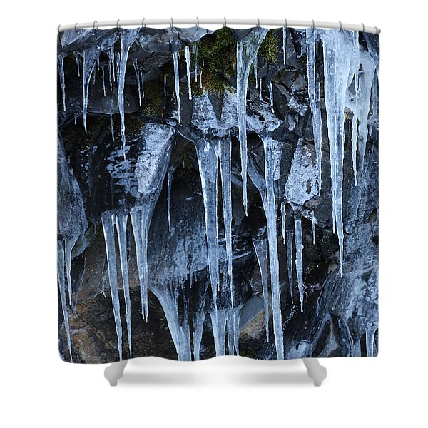 Icycles On Cliff Shower Curtain by Carol Groenen