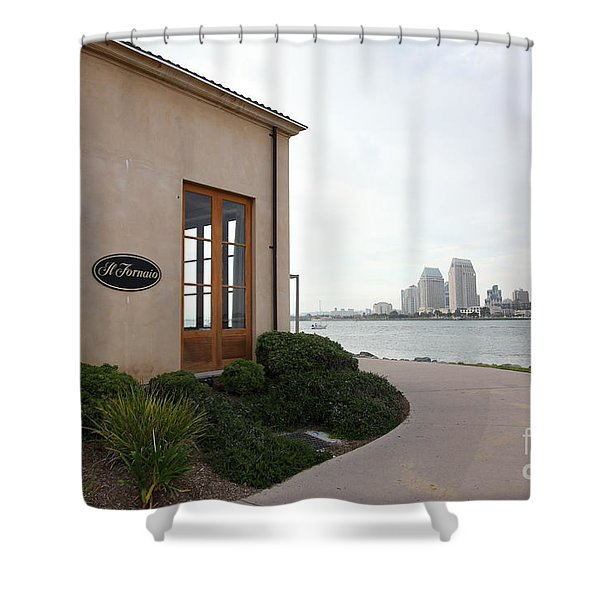 Il Fornaio Italian Restaurant In Coronado California Overlooking The San Diego Skyline 5D24364 Shower Curtain by Wingsdomain Art and Photography