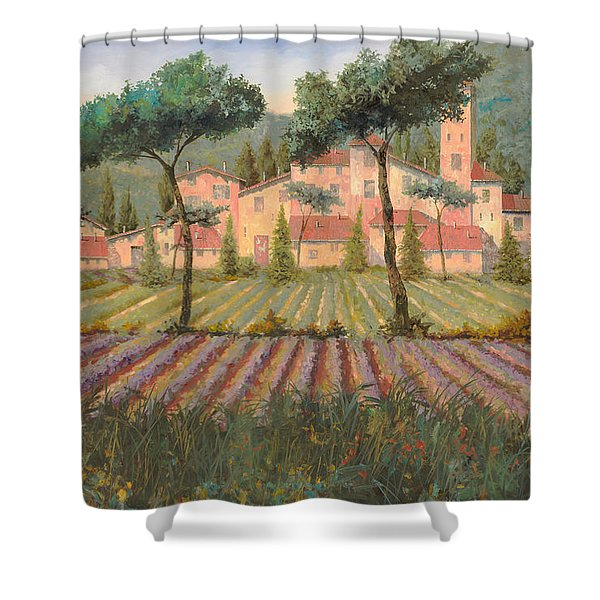 il villaggio tra i campi di lavanda Shower Curtain by Guido Borelli