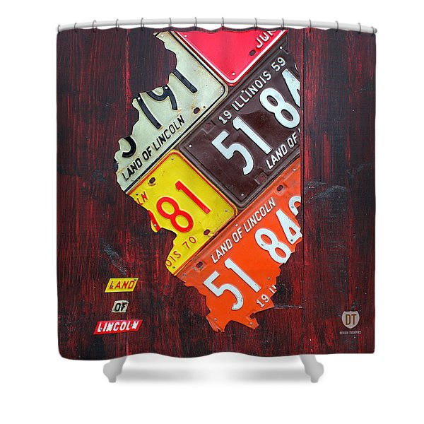 Illinois License Plate Map Shower Curtain by Design Turnpike