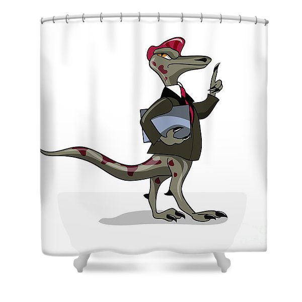Illustration Of An Iguanodon Clerk Shower Curtain by Stocktrek Images