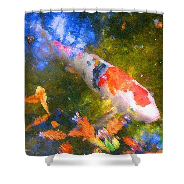 Impressionism  Koi 2 Shower Curtain by Amy Vangsgard