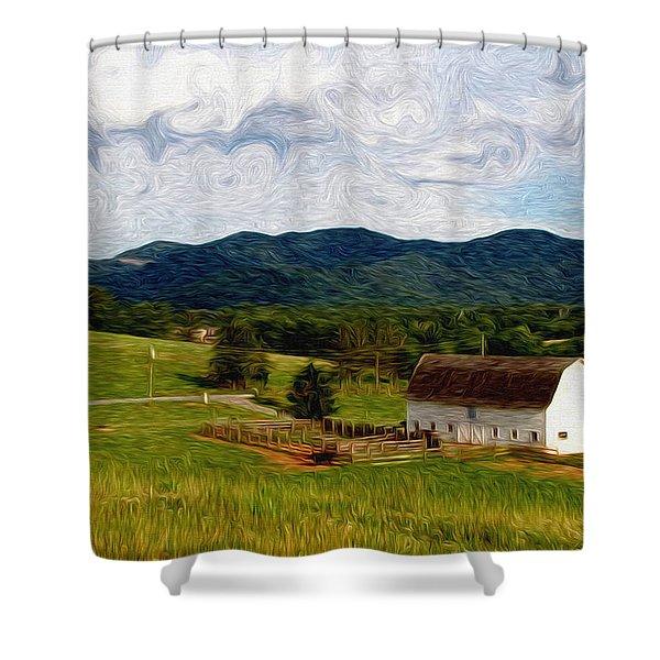 Impressionist Farming Shower Curtain by John Haldane