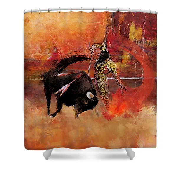 Impressionistic Bullfighting Shower Curtain by Corporate Art Task Force