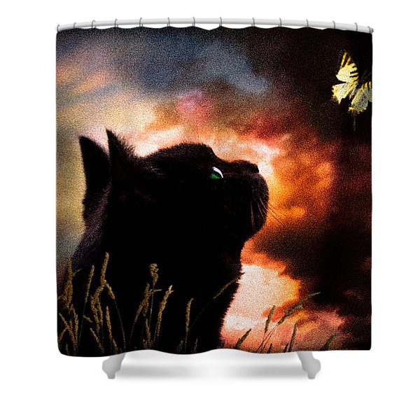 In a cats eye all things belong to cats.  Shower Curtain by Bob Orsillo