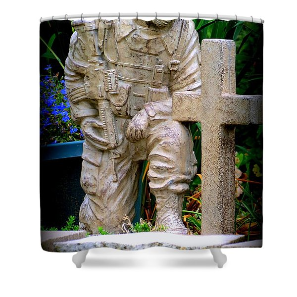 In Honor Of The Wounded Warrior Shower Curtain by Kay Novy