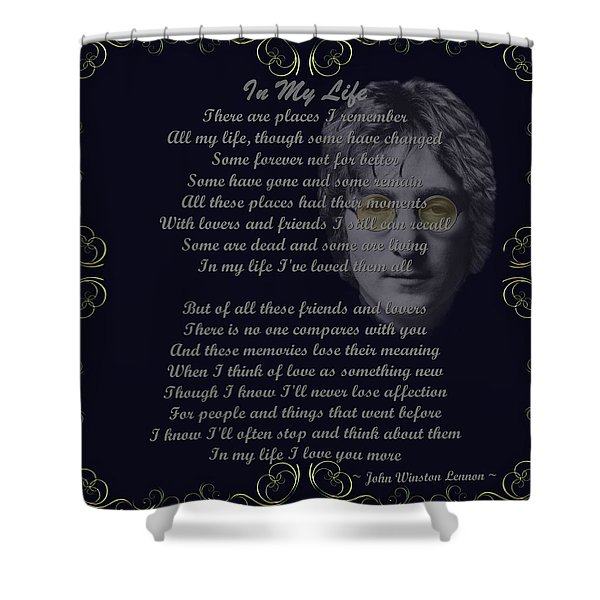 In My Life Golden Scroll Shower Curtain by Movie Poster Prints