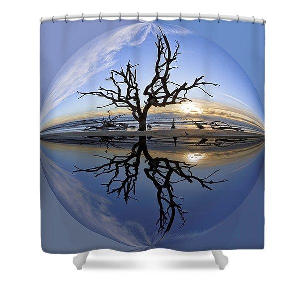 In The Beginning Shower Curtain by Debra and Dave Vanderlaan