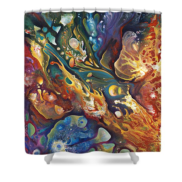 In The Beginning Shower Curtain by Ricardo Chavez-Mendez
