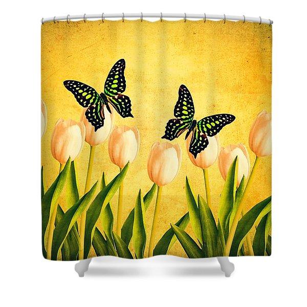 In The Butterfly Garden Shower Curtain by Edward Fielding