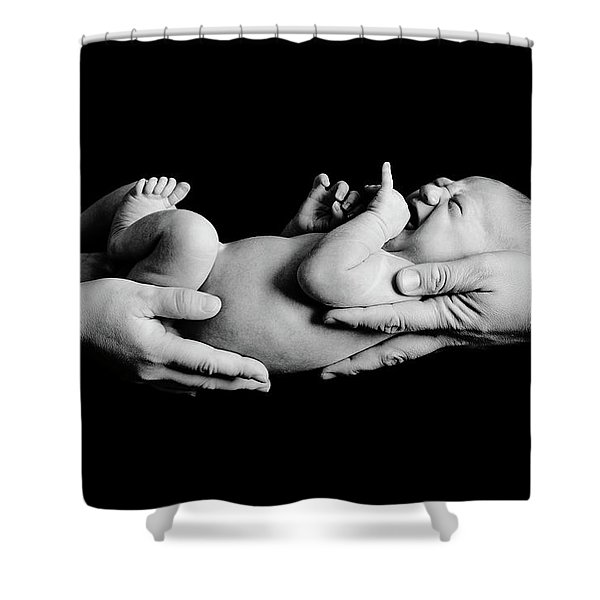 In Your Hands Shower Curtain by Sebastian Musial