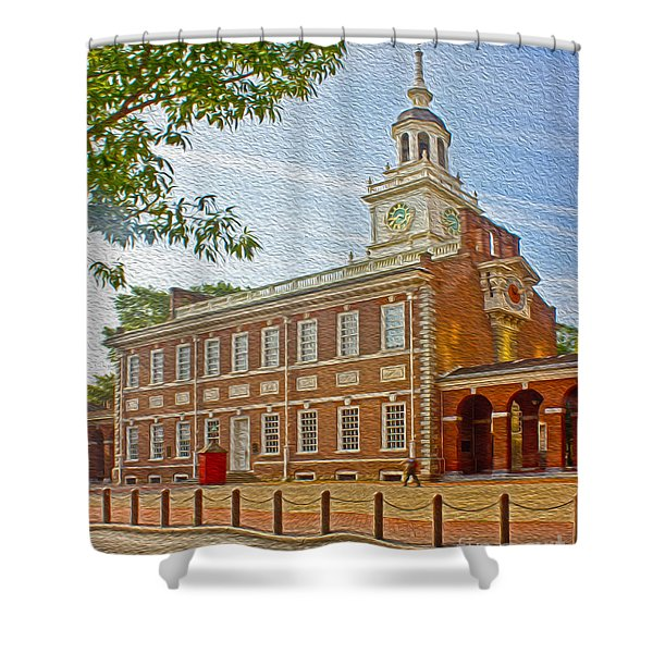 Independence Hall Philadelphia  Shower Curtain by Tom Gari Gallery-Three-Photography