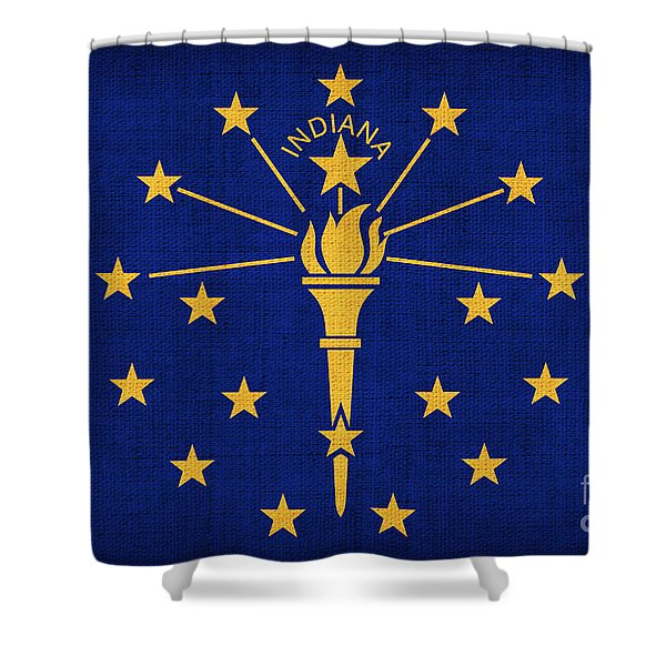 Indiana State Flag Shower Curtain by Pixel Chimp