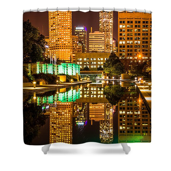 Indianapolis Skyline At Night Canal Reflection Picture Shower Curtain by Paul Velgos