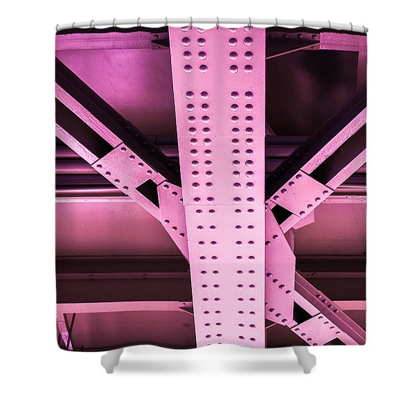 Industrial Metal Purple Shower Curtain by Alexander Senin